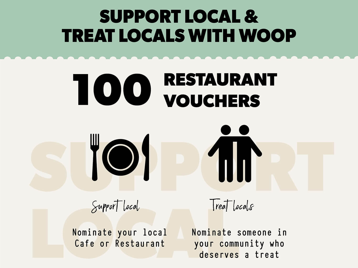 SUPPORT LOCAL & TREAT LOCALS WITH WOOP